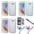 For Samsung Galaxy S6 Transparent TPU Gel Rubber Gummy Cover Skin Case+Film+Pen