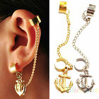 Gothic Punk Rock Earring Chain Anchor Ear Cuff Wrap Clip gift UK biker 2 colours