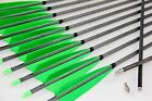 12PK Green Turkey Feather Carbon Arrows Hunting Archery For Compound Recurve Bow