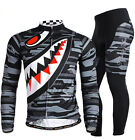 Shark Men Long Sleeve Cycling Polyester +Coolmax Jersey and Pant Wear M-2XL Grey