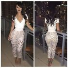 2015 Women Hot Fashion Sexy Lace Stitching Waist Deep V-Neck Jumpsuit Playsuit