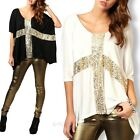 Fashion Womens Loose Paillette Cross Blouse Tops Short Batwing Sleeve T Shirts