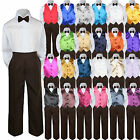 23 Color 4pc Boys Suit Vest Sets Baby Toddler Kid Formal Brown Bow Tie Pants S-7