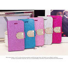High Quality Diamond Bling Flip Wallet PU Stand Case Cover For iPhone 5/5S FM US