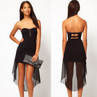 New Women's Sexy Black Clubwear Casual Party Cocktail Evening Mini Padded Dress