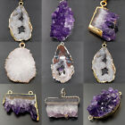 Natural Druzy Quartz Agate Gemstone Geode Pendant Connector Bracelet Charm Beads
