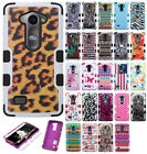 Boost Mobile LG Tribute 2 Rubber IMPACT TUFF HYBRID Case Cover +Screen Protector