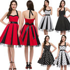VICTORIAN Housewife Halter 50's 60s Cotton Floral Cocktail Rockabilly Dots Dress