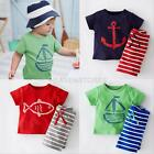 2PCs cotton baby kids boys summer clothes T shirt Tops and shorts pants outfits