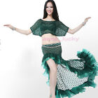 New Sexy Belly Dance Costume 2 Pics Lace Blouse Top&Trailing Skirt/Dres​s 6color