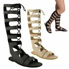 LADIES WOMENS KNEE HIGH CUT OUT LACE UP FLAT GLADIATOR SUMMER SANDALS SHOES SIZE
