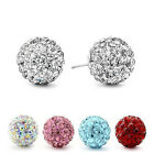 Girl 925 Sterling Silver Color Crystal Disco Ball Stud Earrings A094 Many Colors