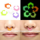 10x Acrylic Glow In The Dark Heart Septum Hanger Clip Fake Nose Ring No Piercing