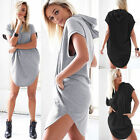 Womens Short Sleeve Mini Dress Shirt Hoodies Hooded Tops Blouse Short Mini Dress