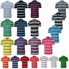 NEW MENS STRIPED POLO SHIRT CASUAL SHORT SLEEVE BUTTON UP COLLAR TSHIRT TOP S-XL