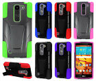 LG Volt 2 LS751 Advanced Layer HYBRID KICKSTAND Rubber Case Cover + Screen Guard