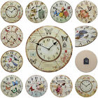 Shabby Chic Large 34cm Thin Rustic Wall Clock Birds and Butterflies
