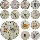 Shabby Chic Large 34cm Thin Rustic Wall Clock French Country Floral Flower