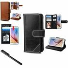 Genuine Leather Stand Wallet Card Slot Case Cover For Samsung Galaxy S6+Film+Pen