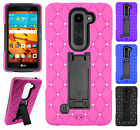 For LG Volt 2 LS751 HYBRID IMPACT KICKSTAND Diamond Case Cover + Screen Guard