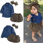 3PC Baby Girls Cowboy shirt + leopard skirt + belt Kids Clothes Outfits Fit 2-8T