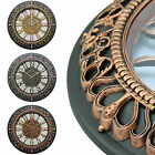 Royal Motif Half Open Face Large 35.5cm Round Rustic Wall Clock