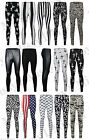 Womens Ladies Skull Bone Tie Dye USA  Cross and Wet Look Print Legging Plus Size