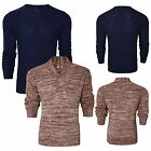 NEW MENS CREW NECK CHUNKY KNIT COTTON JUMPER KNITTED PULLOVER SWEATER TOP S-XL
