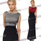 Women Elegant Mesh Mermaid Formal Evening Gown Party Bodycon Maxi Long Dress 581
