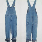 NEW Men's Stylish Loose Casual Jeans Dungarees Denim Suspender Trousers Overalls