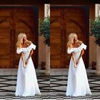 Women White Falbala OffShouder Party Cocktail Evening Dress Long Maxi Prom Dress