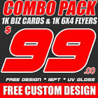 1k CUSTOM FULL COLOR BUSINESS CARDS 1K 6x4 FLYERS + FREE DESIGN FREE SHIPPING