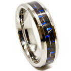 6mm Black & Blue Carbon Fiber Inlay Tungsten Carbide Wedding Ring Sizes 4-16