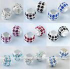 5x Rhinestpme Large Hole Drum Silver Plated Loose European Bead Fit Jewelry DIY