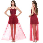 Backless Sequins Tulle Long Bridesmaid Prom Dress Formal Evening Cocktail Party