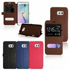 Ultra Slim Flip View Window Leather Case Cover For Samsung Galaxy S6 Edge + Plus