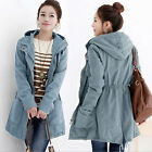 2015Winter Women's Cotton Demin Loose Hooded Jacket Casual Cardigan Trench Coat