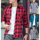Mens Casual Shirts Pockets Check Plaid Long Sleeve Button Front Lapel Collared