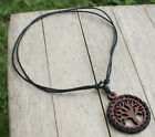 Pagan Celtic Wooden tree of life pendant W Black Slip knot Cotton Rope Necklace