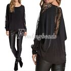 On Sale!Fashion Punk Style Casual Bat Wing Sleeves Lace Back Shirt Casual Blouse