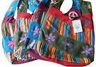 FAIR TRADE COTTON GHERI PEACE/FLOWER/STAR HIPPY BOHO SHOULDER BEACH TRAVEL BAG