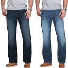 MENS STRAIGHT LEG JEANS REGULAR FIT PLAIN BLUE BLACK DARK DENIM PANTS TROUSERS
