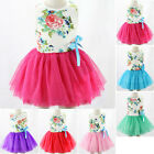 Kids Toddler Baby Girl Clothes Flower Sleeveless Tutu Dress Party Dresses 2-6Y