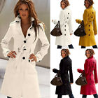 Lady Tide Comfy Wool Blend Military Trench Belted Long Coat Jacket cOAT HOT FMUS