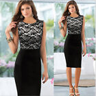 Women Elegant Pinup Slim Floral Lace  Tunic Bodycon Pencil Shift Dress US1 JB
