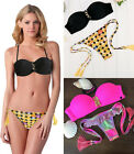 Emoji Print Bikini Set Bra Bandage Padded Push Up Bathing Suit Swimsuit Swimwear