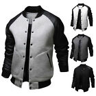 Men's Casual Jacket Coat Baseball Style Faux Leather Collared PU Leather Outwear