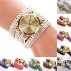 Vogue Women Stunning Rhinestone Faux Suede Rivets Multi-Wrap Quartz Wrist Watch