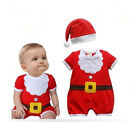 Baby Infant Santa Claus Costume Boys Girl Onesie Romper + Hat Christmas Outfit