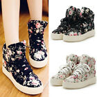 Women Floral Print Flower Lace Up High Top Boots Sneakers Platform Flat Shoes